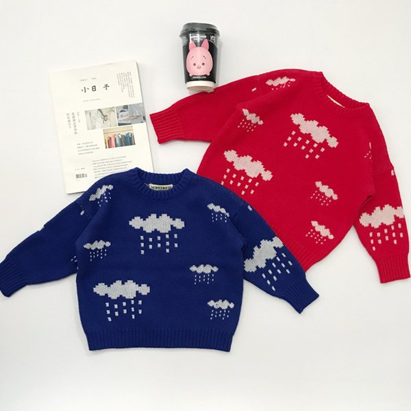 New Boys Spring Autumn Cartoon Sweater Baby Girls Clothes Casual Round Neck Rain Drop Cloud Sweater Children Clothing Outerwear