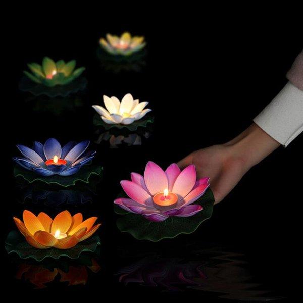가벼운 생일 웨딩 파티 장식 Q190529을 기원 10pcs 여러 가지 빛깔의 실크 연꽃 랜턴 부동 양초 풀 장식