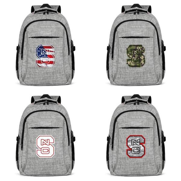 NC Devlet Wolfpack Futbol Beyaz Logo gri Bayan Erkek Seyahat Laptop Sırt Çantası Gri Kamuflaj 3d Etkisi Bayrak Siyah Sıkıntılı Kırmızı Kahverengi