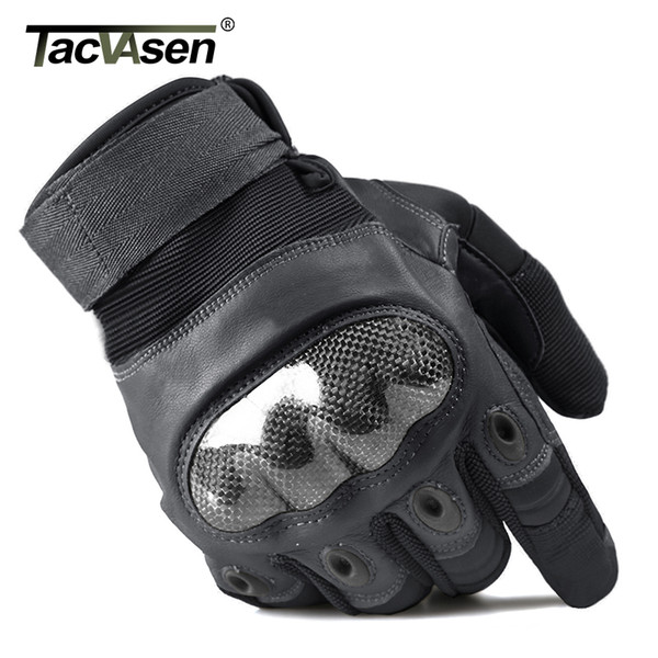 TACVASEN Tactical Gloves Men's Gloves Hard Shell Full Finger Anti-slip Paintball Leather
