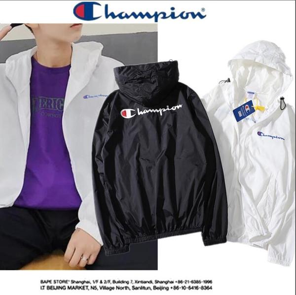 2018 luxury the chmapion brand men's long-sleeved solid color hooded sweatshirt men's hooded windproof sportswear sunscreen casual - from $33.52