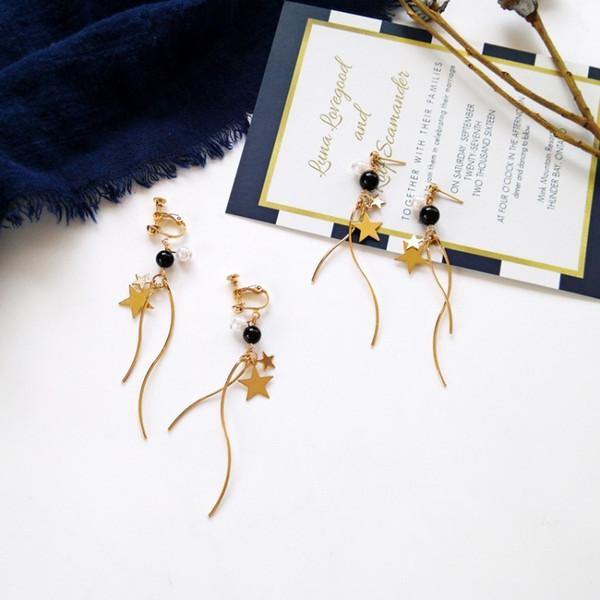 Korea elegant simple geometric temperament long time space earrings wave type ear clip student curve star earrings