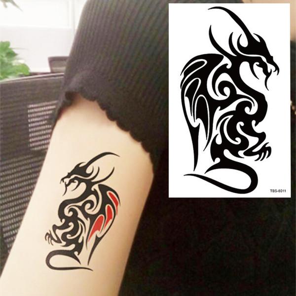 Black Dragon Totem Tattoo Body Art 3d Waterproof Temporary Tattoos Sticker Art Men Arm Leg Fake Tatoo Paper Personalized Tattoos Print Your Own