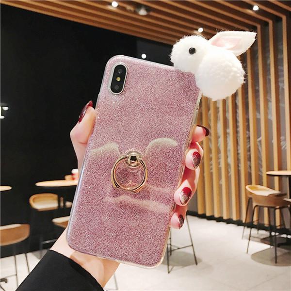 Cute Rabbit Bunny Soft TPU Rhinestone Ring holder Phone Case for iPhone 6 7 8 Case Diamonds Bling TPU Soft Phone Cover