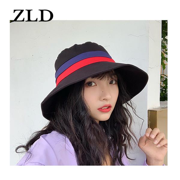 ZLD New cor sólida Big Fisherman Hat Feminino Primavera E Verão Folding Chapéu de Sol Sun Visor Versão Coreana Do Selvagem Tide