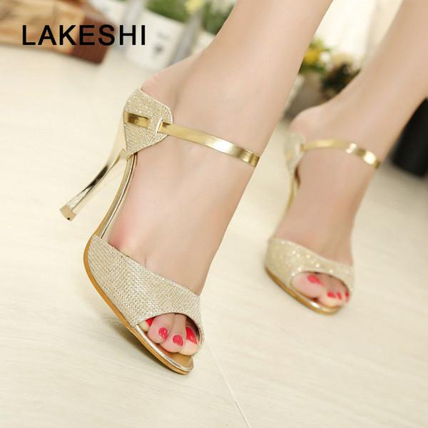 Atacado Verão Mulheres Bombas Sapatos de Salto Alto Sapatos De Casamento de Ouro Stiletto Salto Alto Peep Toe Mulheres Heel Sandálias Das Senhoras