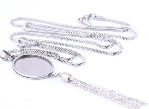 Pendant Cabochon Base Settings Stainless Steel 18x25mm oval square Cameo bezels diy 80cm chain necklace trays with tassel