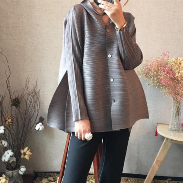LANMREM 2019 nouvelle mode estivale col montant manches chauve-souris plissée simple chemise chemise ample blouse femme
