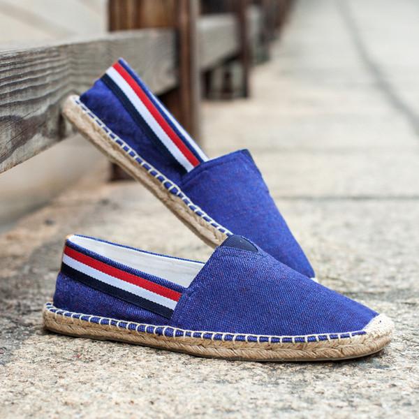Uomini Espadrillas Slip On Shoes Maschile sottopiede Mocassini Unisex coppia Lovers banda della tela di iuta Calzature Avvolto del panno del denim scarpe