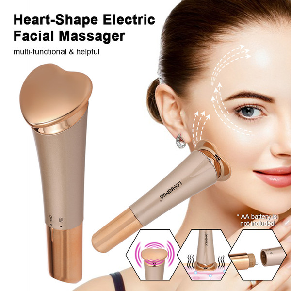 Heart-Shape Face Cleansing Massage Tool Electric Facial Massager Pulling Tightening Firming Lifting Multi-functional Skin Care