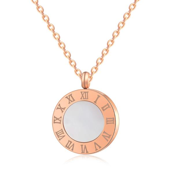 High Polishing 316L Stainless Steel Roman Numberals Pendant Necklace With Mother of Pearl 18K IP Plated For Women