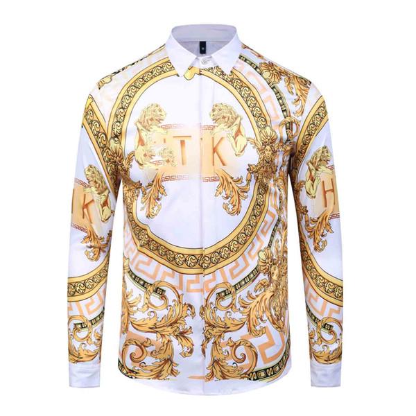 Nueva moda de manga larga para hombre camisas de vestir de algodón de seda Sim Ft hombres camisas casuales Medusa camisas KERU