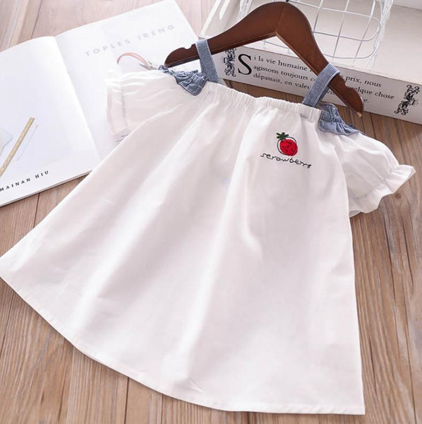 New Summer Baby Girls Strawberry Off Shoulder Sun-top T-shirt Kids Letters Embroidery Blouse Tshirt Children Casual Clothing 4647