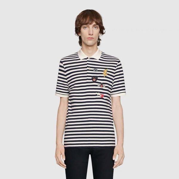Luxo Europa Abelha Relâmpago Bordado Preto E Branco Listras Polo Tshirt Shorts Mens Designer de Camisetas Mulheres Casal Maré T Vermelho HFSSTX257