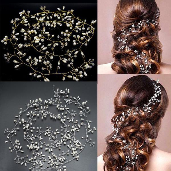 Handmade 100CM Длина золото и серебро цветок Vine Tiara невесты Глава цепи Свадебные украшения для волос Свадебные прически Ювелирные аксессуары