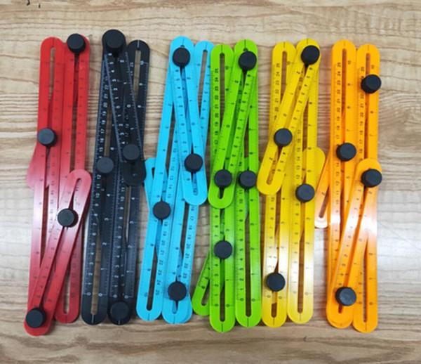 Angle-izer Angle Measure Einstellbares vierseitiges Falzmesswerkzeug Multi-Angle Template Scale Ruler Misst 6 Farben zur Auswahl