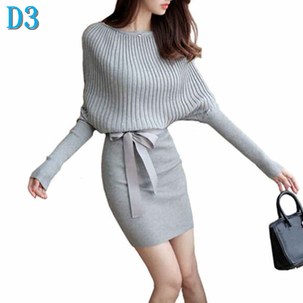 Women Sweater Dress Bodycon Sexy Cotton Bow Elastic Spring Autumn Black Knitted Dresses Vestidos Belt Party Dresses for Womens hot saleD3