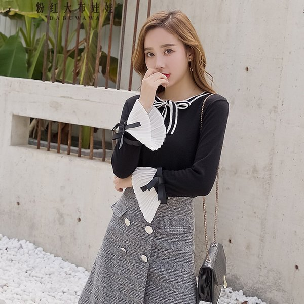 Dabuwawa Women's New Black Autumn Bow Knitted Pullover Elegant Long Flare Sleeve Slim Sweater D18DJS042