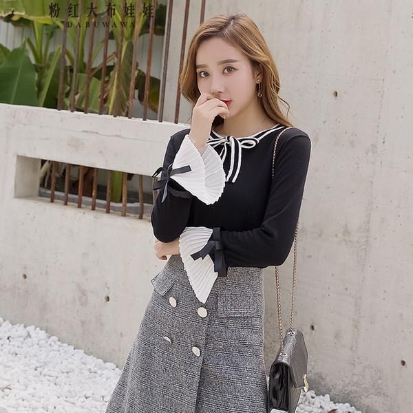 Dabuwawa женский новый черный осенний бант вязаный пуловер элегантный с длинным рукавом вспышки тонкий свитер D18DJS042