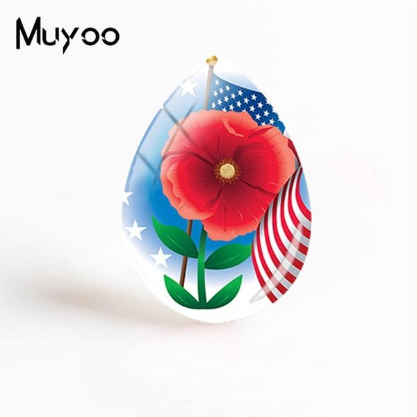 New Poppy Flowers Jewelry Red Poppies Art Tear Drop Cabochon Plant Painting Glass Dome Cabochons Gifts Women