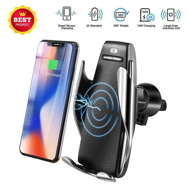 2019 Автоматических беспроводное Автомобильное зарядное устройство для iPhone Android Air Vent телефона владельца 360 градусов вращения зарядного Mount Bracket DHL