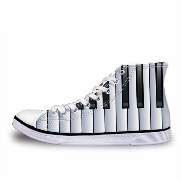 334bb7ed6ec63 Customized Fashion Mens High Top Canvas Shoes Music Notes With Piano  Keyboard Printed Classic Vulcanize Shoes Man Flat #54946 Cheap Shoes Online  ...