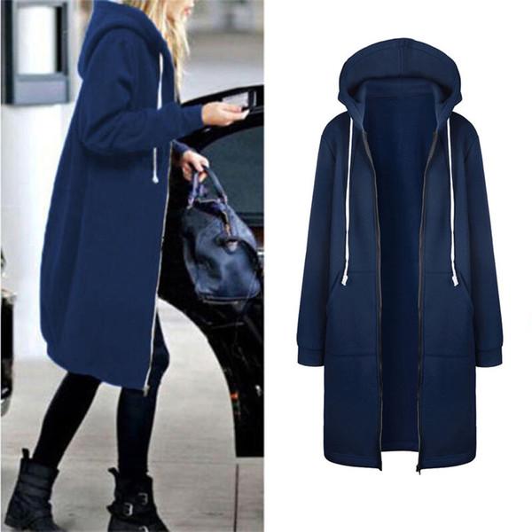 Bayan Hoodies Uzun Kollu Kış Sıcak Rüzgarlık kadın Kazak Zip Açık Hoodies Kazak Uzun Ceket Ceket Dış Giyim Tops
