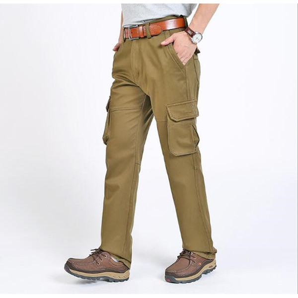 Men's Winter Long Plus Size Pnats Straight Baggy Casual Pants Overall Thick Fleece Trousers Men Loose Bottoms