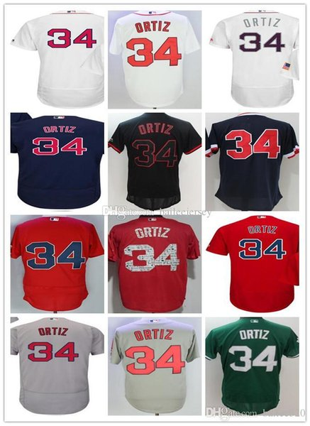 separation shoes ceade 6862f 2019 Men Boston #34 David Ortiz Navy Blue Usa Flag Gray Red Black White  Fashion Stars Green Stitched Majestic Baseball Jerseys From Pinbo88, $20.18    ...