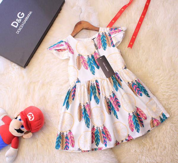 Sommerkleid scherzt Mädchenkleidungsentwerferstrand beiläufiges Kleidbaumwollmaterial Federmusterkleid neues Bestes