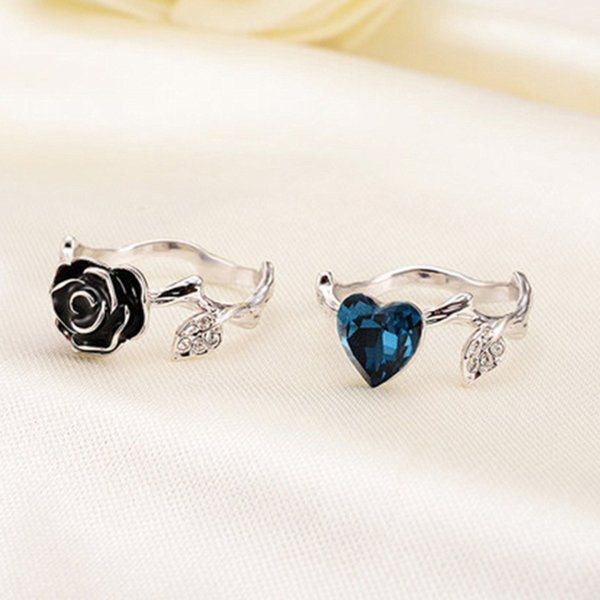 Women Fashion Rose flower and Blue CZ Heart rings Set For women Wedding Engagement Party Cubic Zircon Ring Lady Party Jewelry