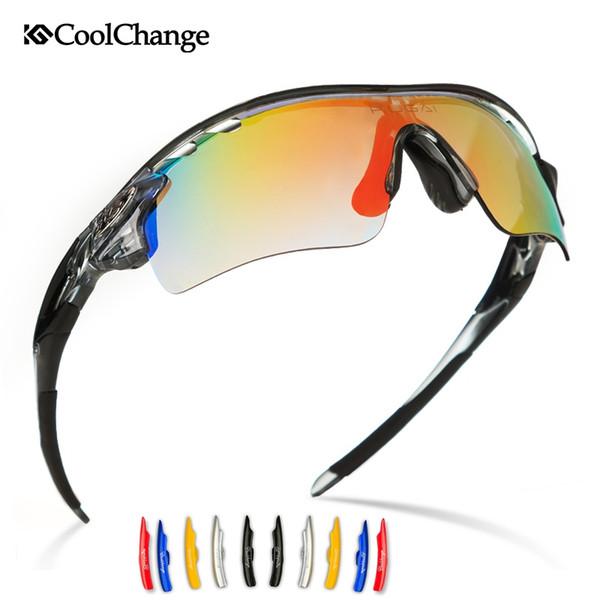 Coolchange Hombres Mujeres Polarizadas Deporte Gafas de sol Gafas de bicicleta de montaña Senderismo Gafas Mtb intercambiables 5 lentes Ciclismo Gafas # 110085