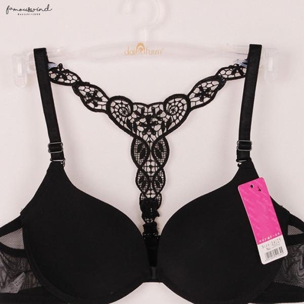 Chiusura a spalle scoperte donne Bra Plus Size Lace Bralette Y-Line cinghie regolabili Bra benda Super Push Up Bras per le donne