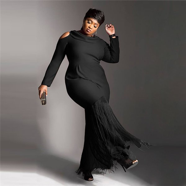 5XL Plus Size Women Occasion Party Dresses Casual Lace Black Vintage Long  Sleeves Dress Cheap Women Clothing FS5347 Cheap Dress Evening Dresses With  ...