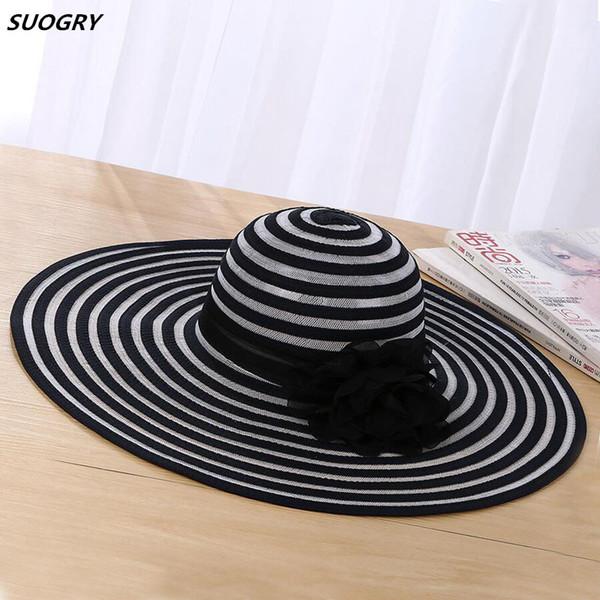Nouveau mode femmes chapeau de soleil polyester large large bord ventilation ventilation été casual mode chapeaux de plage dames élégantes chapeaux floppy