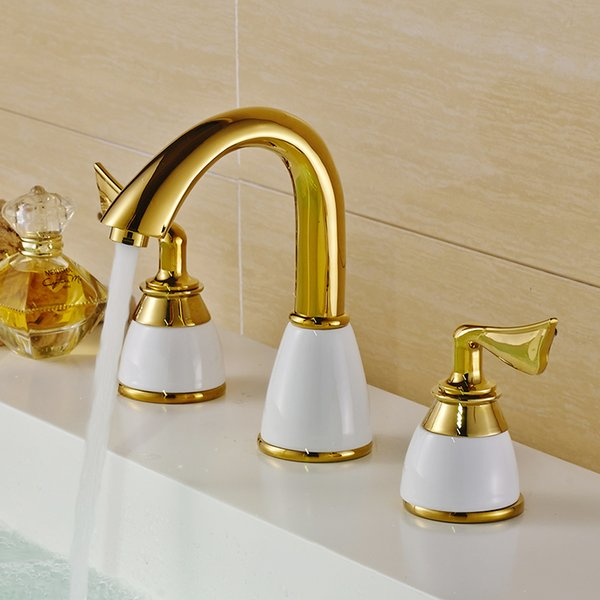 Stupendous 2019 Modern Basin Faucets Polished Gold Brass Made Bathroom Sink Faucet Double Handle 3 Hole Bath Basin Counter Mixer Taps From Yong8 216 69 Download Free Architecture Designs Scobabritishbridgeorg