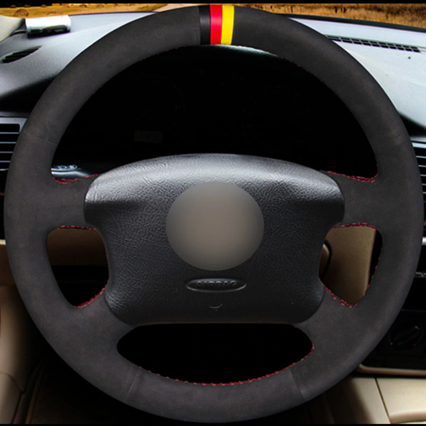 Black Suede Car Steering Wheel Cover for Volkswagen Passat B5 VW Passat B5 VW Golf 4 Skoda Octavia 1999-2005