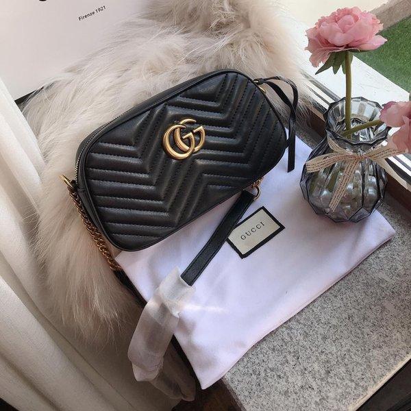 Золото Оборудование цепи мешок плеча женщин черный овчины V ватные закрылков Сумки 24CM Оригинальные кожаные сумки