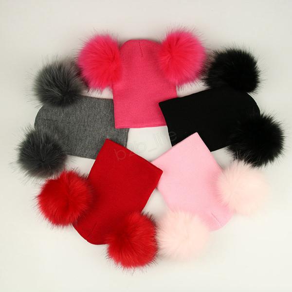 Kids Pom Pom Beaies INS Winter Knitted Hat Warm Wool Hat Skull Beanie detachable Double Fur Ball Children Knit Outdoor Caps 20pcs LJJA2835