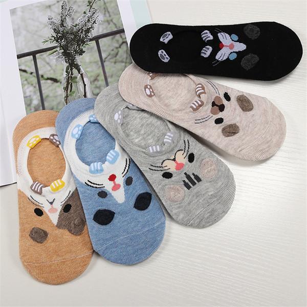 5pairs = 10pieces Cartoon Femmes Chaussettes Chaussettes Coton Joli Animal Oreille Fille Cheville Harajuku Respirant Sokken