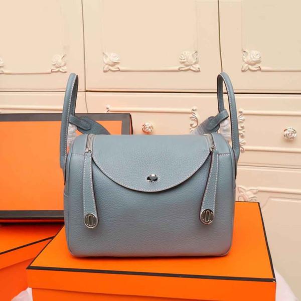 borse classiche delle donne del progettista di modo della cinghia dei sacchetti di spalla del cuoio genuino borsa nera del sacchetto di spalla del tote della piccola borsa freeshipping 26cm