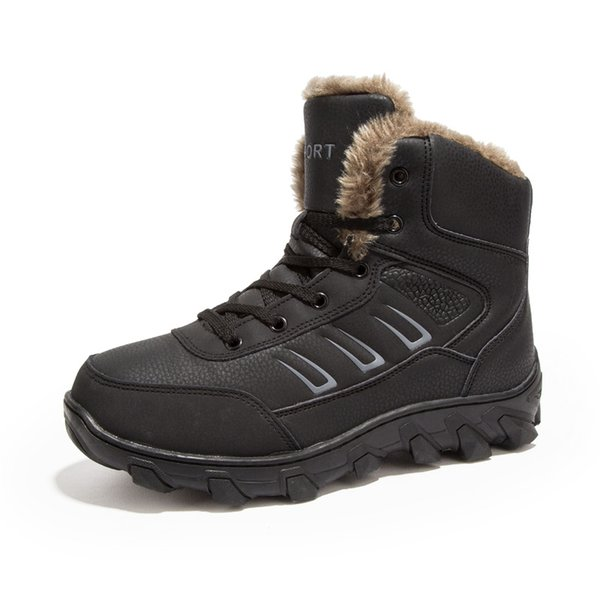 mens boots winter leather male snow boots men cotton-padded shoes keep warm safety work safeti antiskid plus size 39-48