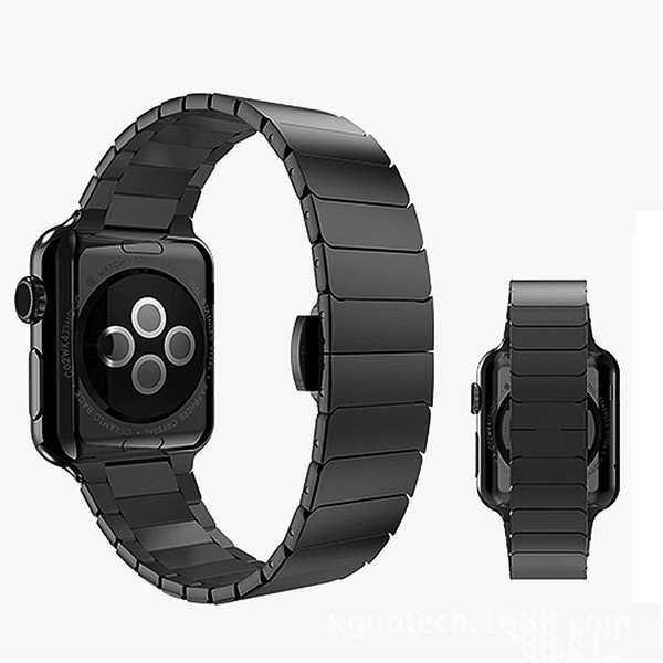 Klassisches hochwertiges Edelstahl-Uhrenarmband mit Metallschmetterlingsschnallen-Uhrenarmband Ersatz für Apple Watch iWatch-Uhrenarmband 42 38 mm