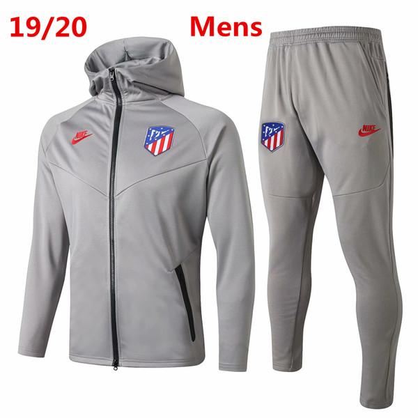 19 20 Atletico Madrid hommes veste sweat à capuche complète maillot de football Costa de train de Survêtements chemise de formation Felix Koke Tiago kits de football manteau d'hiver