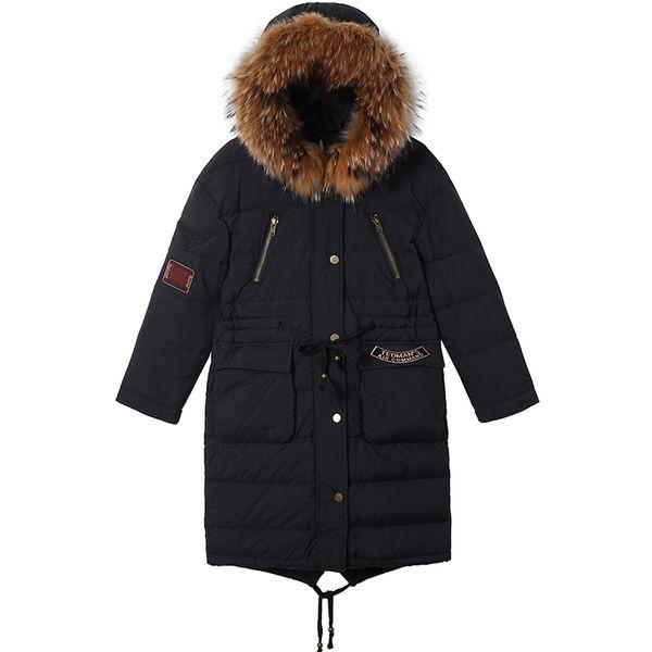 col de fourrure véritable manteaux en duvet d'hiver était mince canard chaud manteau de duvet femme fourrure naturelle Parkas à capuchon chaud épais F958