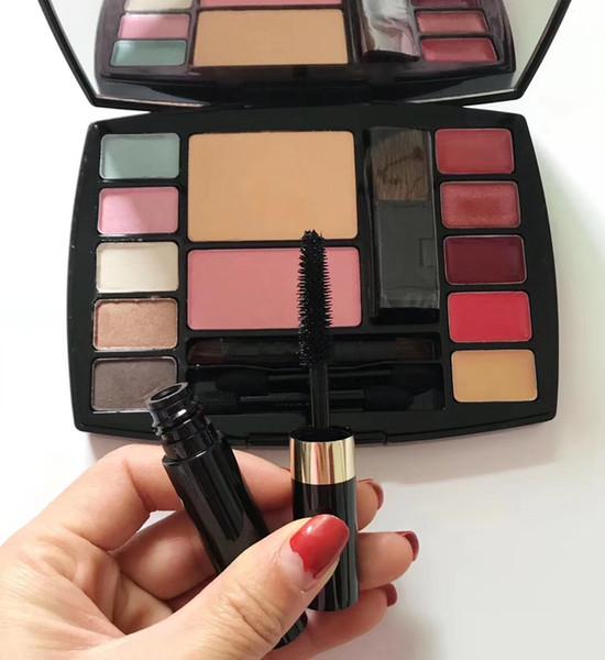 ¡¡En stock!! Juego de viaje de alta calidad Plaette 12 colores con 4 pinceles y 1 pcs Mascara Set de cosméticos