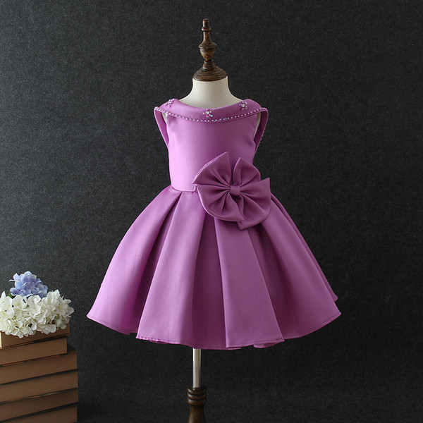 2019 Cute Purple Satin Flower Girl Dresses Backless Pageant Gowns For Weddings Tea Length First Communion Dresses For Girls With Bow