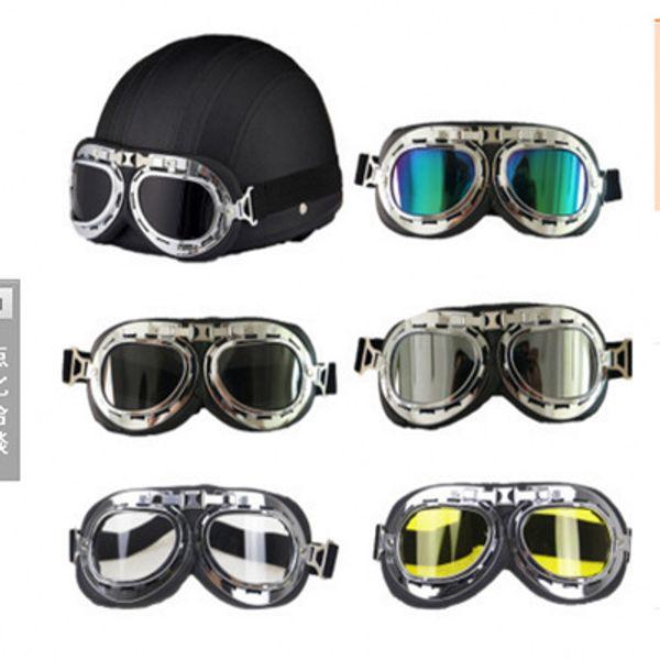 Motorcycle Helmet Goggles Pilot Aviator Retro Vintage PU Leather Riding Eye