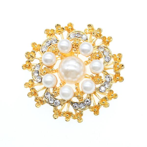 30pcs / New Fashion rotonda d'oro perla fiore pin spilla a forma di fiore bianco perla spilla per le donne
