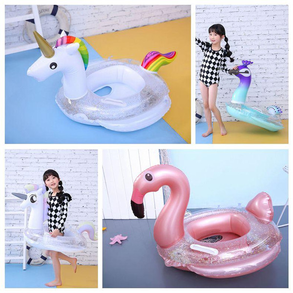 top popular Sequins Unicorn Floats Kids Flamingo Float Swimming Ring Baby Life Buoy Unicorn Floating Ring Sequins Pools Outdoor Play CCA11538 10pcs 2019